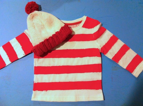 knitted Waldo hat, painted Waldo striped shirt
