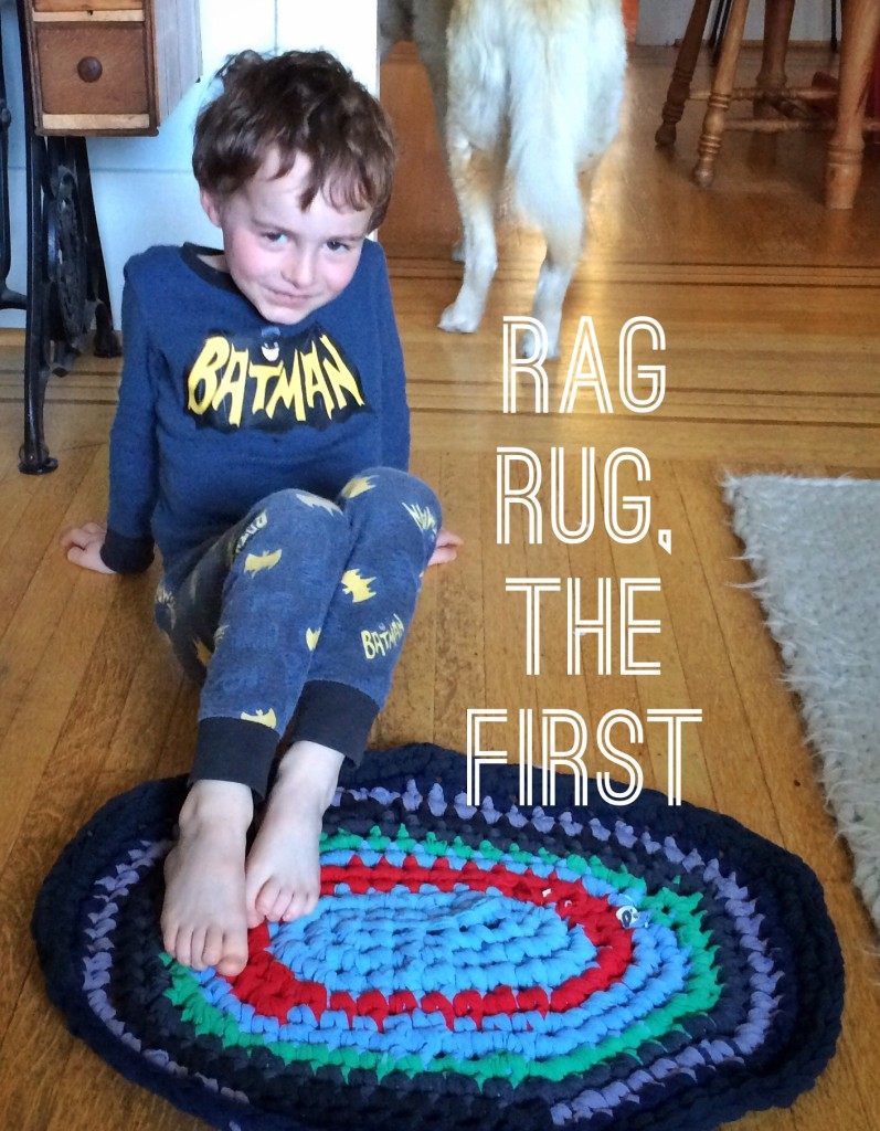 crocheted oval rag rug photo