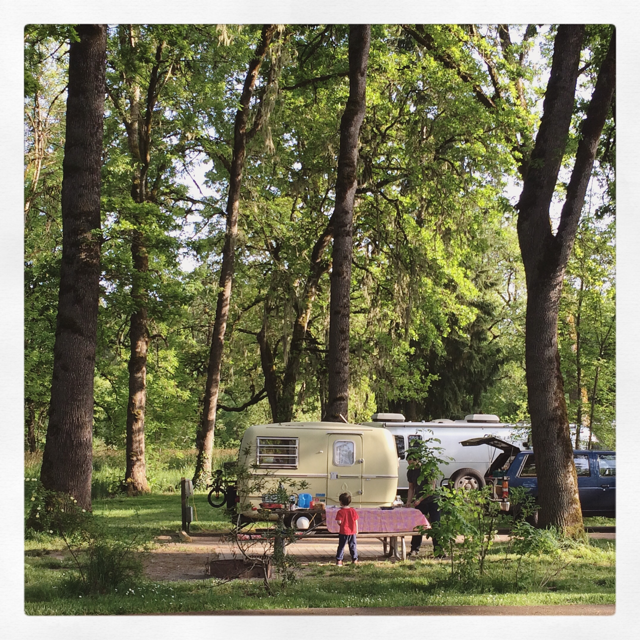 vintage caravan camping setup