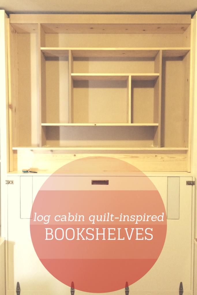 Log Cabin Quilt-Inspired Bookshelves