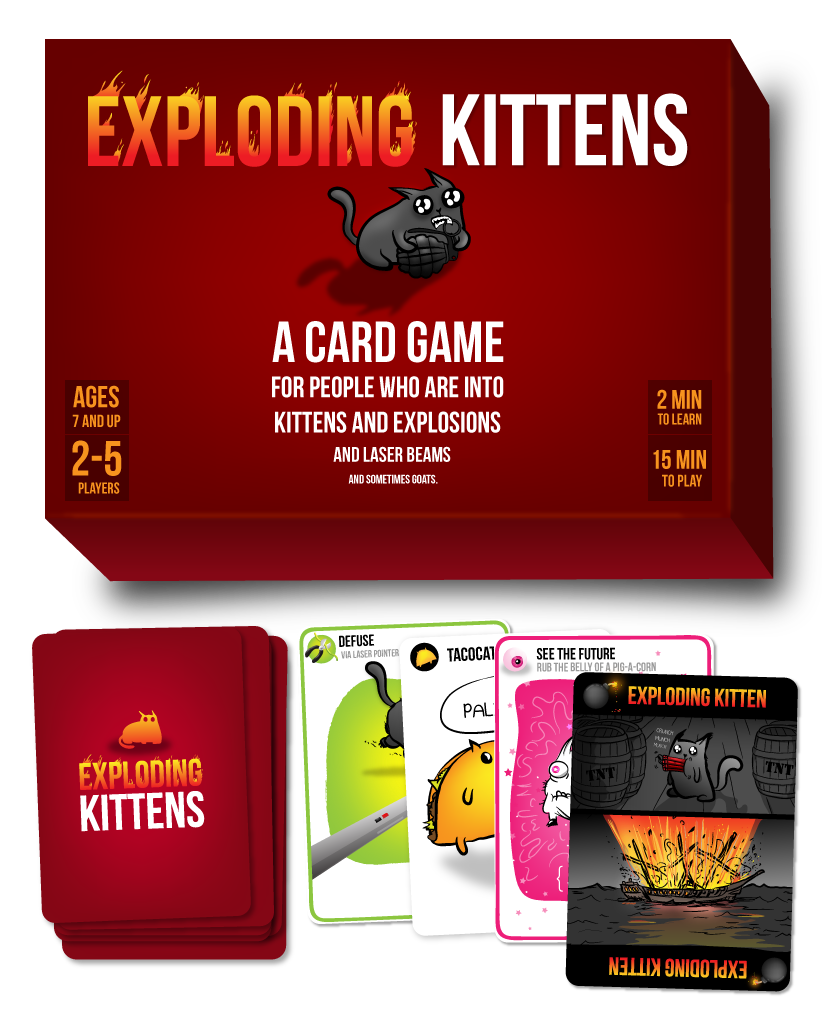 image of exploding kittens card game