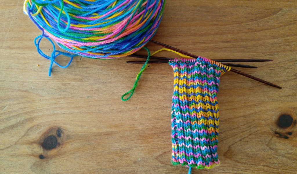 Rainbow socks in progress.